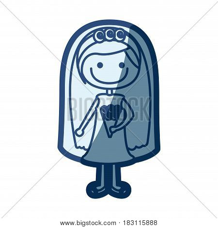 blue silhouette of caricature woman in wedding dress with straight hair vector illustration
