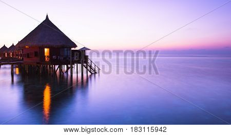 Water bungalows on the islands of the Maldives. A place to relax and honeymoon.