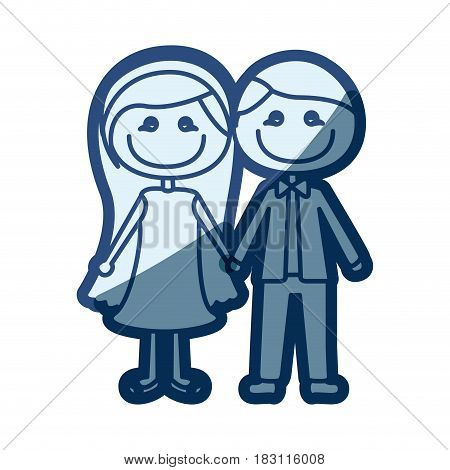 blue silhouette of caricature couple in formal suit and her in dress with taken hands vector illustration