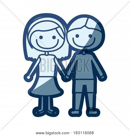 blue silhouette of caricature couple in suit informal with taken hands vector illustration
