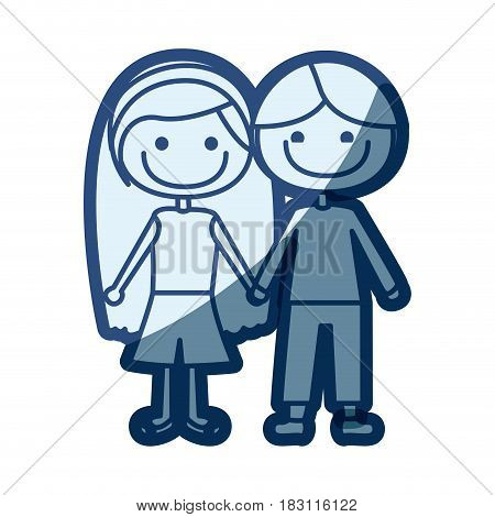 blue silhouette of caricature couple kids in casual clothes with taken hands vector illustration