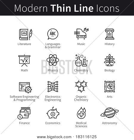 School, college and university science education concept. Arts, formal sciences, software engineering, medical and chemistry knowledge. Modern thin line art icons. Linear style illustrations on white.