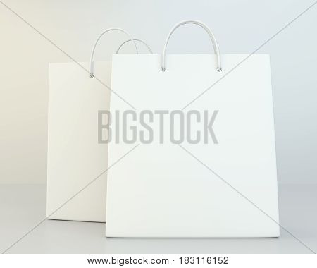 blank shopping paper bags set. 3d rendering