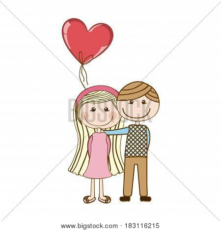 colorful caricature of couple in formal suit and her in dress with balloon in shape of heart vector illustration