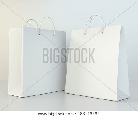 blank white shopping paper bags set. 3d rendering
