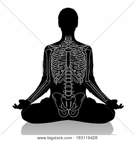 Woman in a yoga pose, with drawing skeleton over white background.