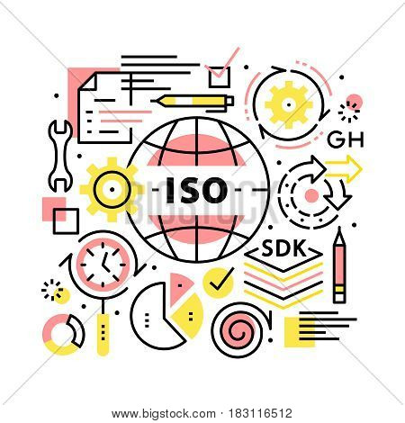 ISO business standards collage concept. Biz management, development and growth methods. Modern thin line art icons background. Linear style illustrations isolated on white.