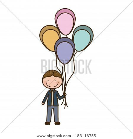 colorful caricature of smiling kid with bow tie and many balloons vector illustration