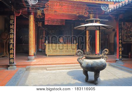HO CHI MINH CITY VIETNAM - NOVEMBER 27, 2016: Chua Ong Bon temple in Chinatown