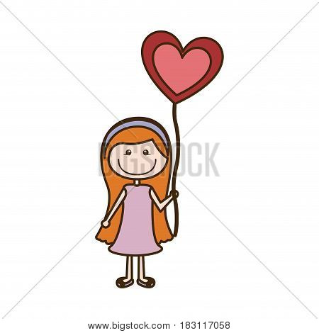 colorful caricature of smiling girl with dress and long hair with balloon in shape of heart vector illustration