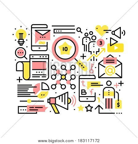 Internet marketing and SEO concept. Search engine and website optimization collage. Modern thin line art icons background. Linear style illustrations isolated on white.