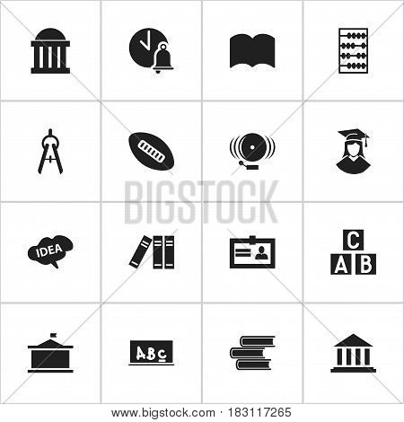Set Of 16 Editable University Icons. Includes Symbols Such As Library, Dictionary, Certification And More. Can Be Used For Web, Mobile, UI And Infographic Design.