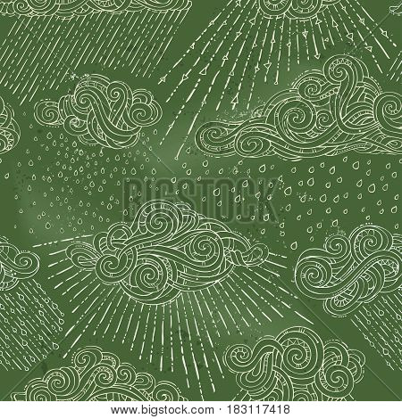 Vector Seamless Chalk Rainy Pattern.