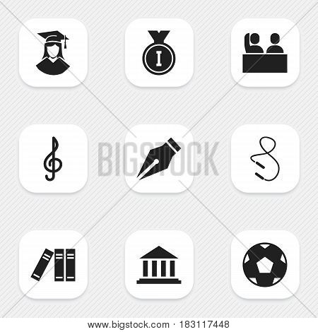 Set Of 9 Editable Graduation Icons. Includes Symbols Such As Nib, Skipping Rope, Student And More. Can Be Used For Web, Mobile, UI And Infographic Design.