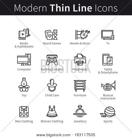 Set of computer devices, adults and children accessories, clothes, furniture and objects for home leisure. thin black line art icons. Linear style illustrations isolated on white.