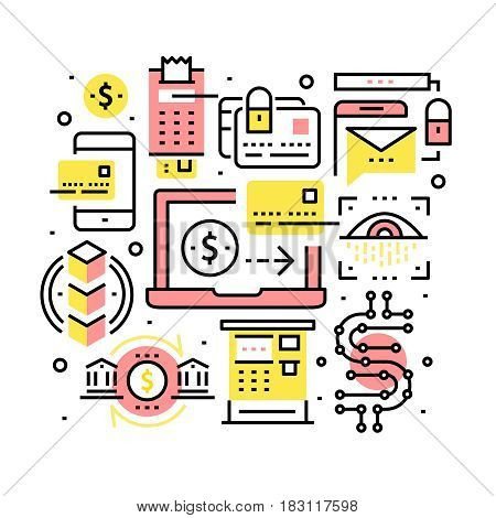 Modern financial transactions technology, banking, security collage. Credit card, cryptocurrency, blockchain tech. Modern thin line art icons background. Linear style illustrations isolated on white.