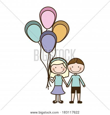 colorful caricature of couple in suit informal with many balloons vector illustration