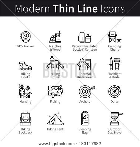 Camping and hiking, hunting, fishing and archery supplies set. thin black line art icons. Linear style illustrations isolated on white.