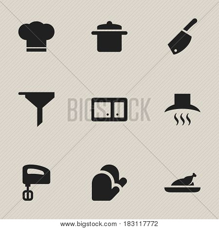 Set Of 9 Editable Meal Icons. Includes Symbols Such As Cookware, Cook Cap, Kitchen Hood And More. Can Be Used For Web, Mobile, UI And Infographic Design.