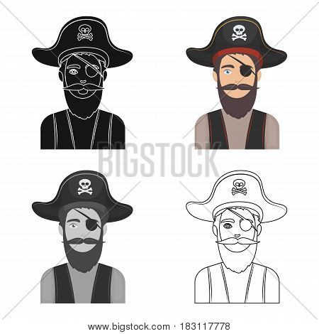 Pirate with eye patch icon in cartoon style isolated on white background. Pirates symbol vector illustration.