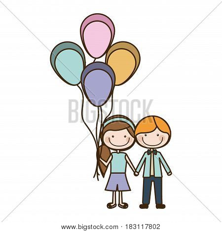 colorful caricature of boy short hair and girl with side hairstyle with many balloons vector illustration