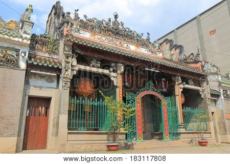 Thien Hau temple in Chinatown Ho Chi Minh City Vietnam. Thien Hau temple is a Chinese style temple of the Chinese sea goddess Mazu in Chinatown.