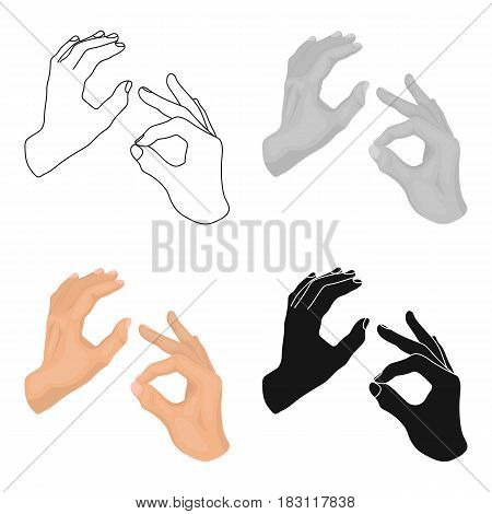 Sign language icon in cartoon design isolated on white background. Interpreter and translator symbol stock vector illustration.