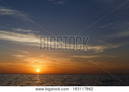 Photography of picturesque sunset by sea shore