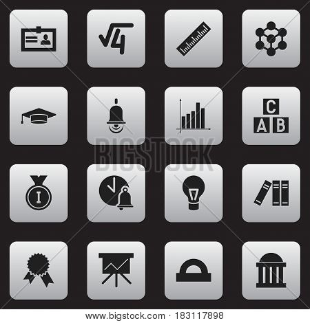 Set Of 16 Editable University Icons. Includes Symbols Such As Graduate, Math Root, Straightedge And More. Can Be Used For Web, Mobile, UI And Infographic Design.