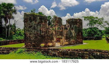 Ruins of zeeland fort on the island in Essequibo delta, Guyana