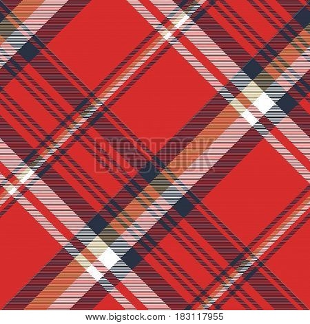 Red plaid fabric texture seamless pattern. Vector illustration.