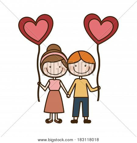 colorful caricature of boy and girl with balloon in shape of heart vector illustration