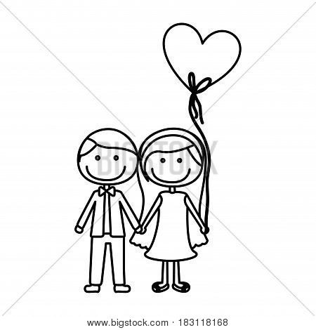 monochrome contour caricature of couple him in formal suit with tie and her in dress with balloon in shape of heart vector illustration