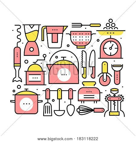 Collage with kitchen utensils and appliances. Equipment and kitchenware for cooking, mixing, tea and coffee making. Modern thin line art icons. Linear style illustrations isolated on white.
