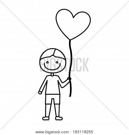 monochrome contour of caricature of smiling kid with t-shirt and short pants with balloon in shape of heart vector illustration