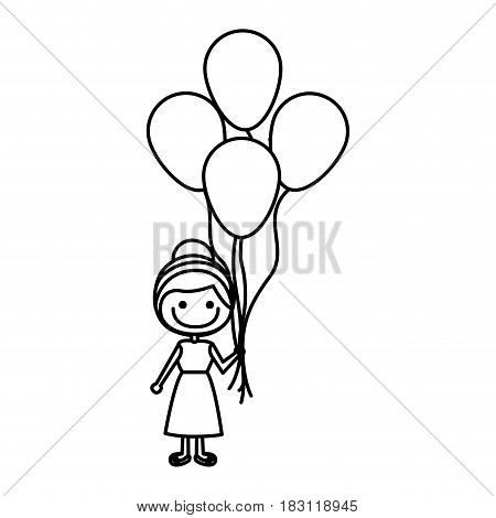 monochrome contour of caricature of smiling girl with dress and many balloons vector illustration