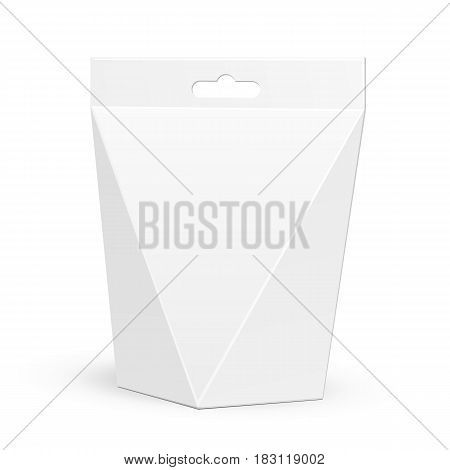 White Cardboard Carry Box Bag Packaging For Food, Gift Or Other Products. Illustration Isolated On White Background. Mock Up Template Ready For Your Design. Product Packing Vector EPS10