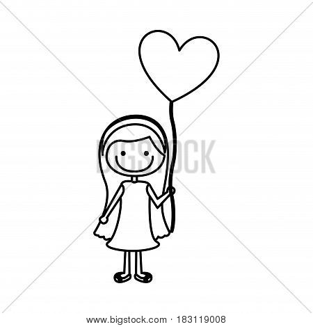 monochrome contour of caricature of smiling girl with dress and long hair with balloon in shape of heart vector illustration