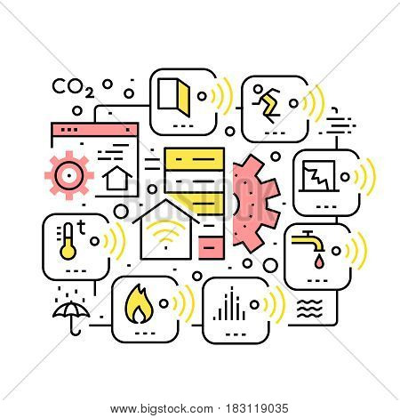 Smart home devices, Internet of Things collage. Remote server controlled sensors for motion, temperature, humidity, fire and smoke. Thin line art icons. Linear style illustrations isolated on white.