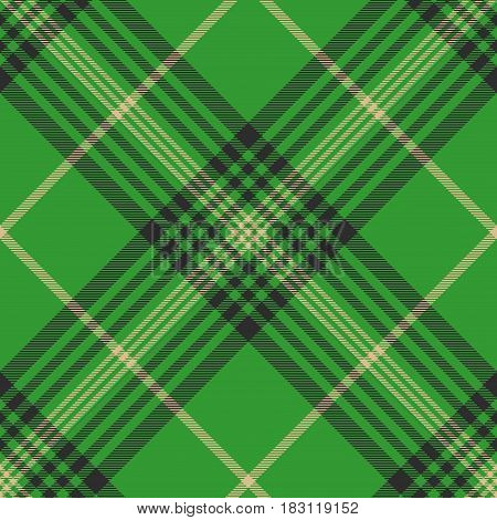 Seamless plaid green tartan check fabric texture. Vector illustration.