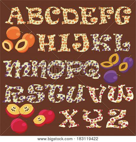 Fruity alphabet. Funny learning. Mixed apricots, prunes, apples
