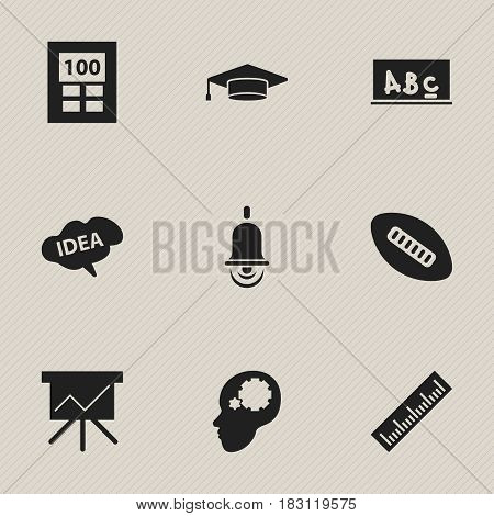 Set Of 9 Editable School Icons. Includes Symbols Such As Creative Idea, Straightedge, Mind And More. Can Be Used For Web, Mobile, UI And Infographic Design.