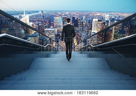 Back view of young businessman on concrete stairs. City background. Forward concept. 3D Rendering