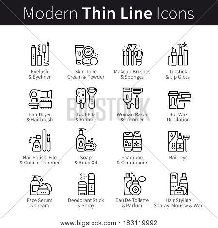Woman beauty salon collection. Tools, supplies, cosmetics, and equipment for hairdo, makeup and manicure. Thin black line art icons. Linear style illustrations isolated on white.