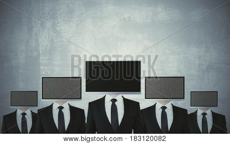 Abstract screen headed men on concrete background. Mock up