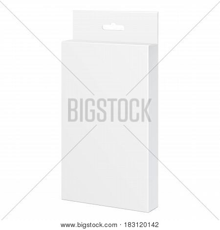 White Product Package Box. For Pencils, Pens, Felt-tip Pens Illustration Isolated On White Background. Mock Up Template Ready For Your Design. Product Packing Vector EPS10