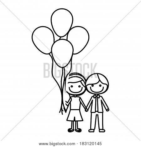 monochrome contour of caricature of boy short hair and girl with side hairstyle with many balloons vector illustration