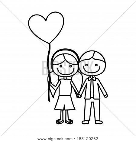 monochrome contour of caricature of boy short hair and girl with pigtails hair with balloon in shape of heart vector illustration