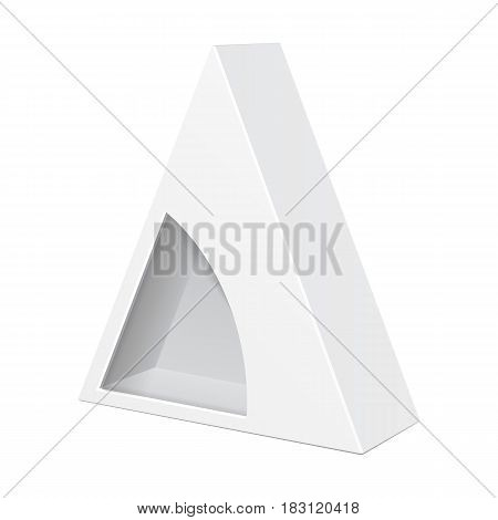 White Cardboard Triangle Box Packaging For Food, Gift Or Other Products With Window. Illustration Isolated On White Background. Mock Up Template Ready For Your Design. Product Packing Vector EPS10