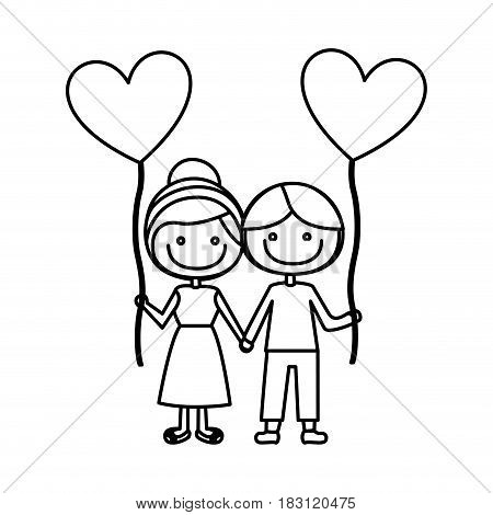 monochrome contour of caricature of boy and girl with balloon in shape of heart vector illustration
